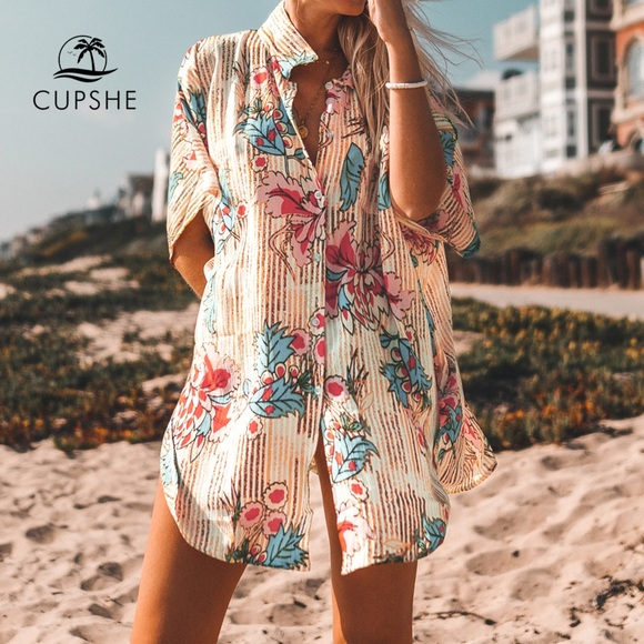CUPSHE Retro Floral Shirt Cover Up for Swimsuit
